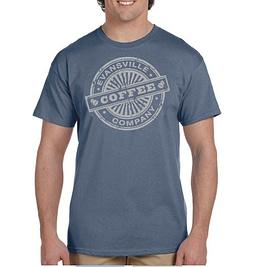 Evansville Coffee T-Shirt Heather Indigo and Matte Silver