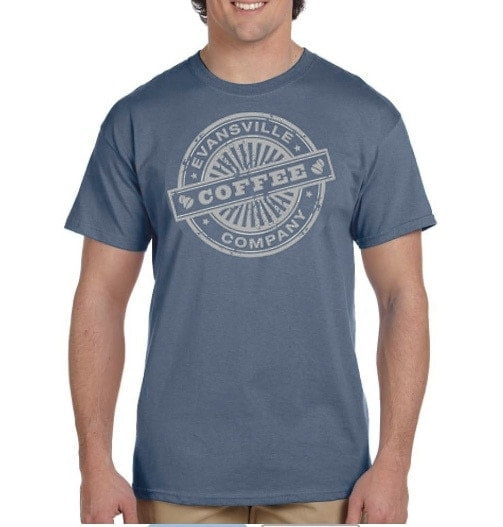 Evansville Coffee T-Shirt Heather Indigo and Matte Silver