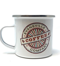 White Enamel cup from Evansville Coffee Company